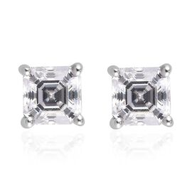 Swarovski Zirconia Solitaire Stud Push Post Earring in Platinum Overlay Sterling Silver 0.46 ct  1.0