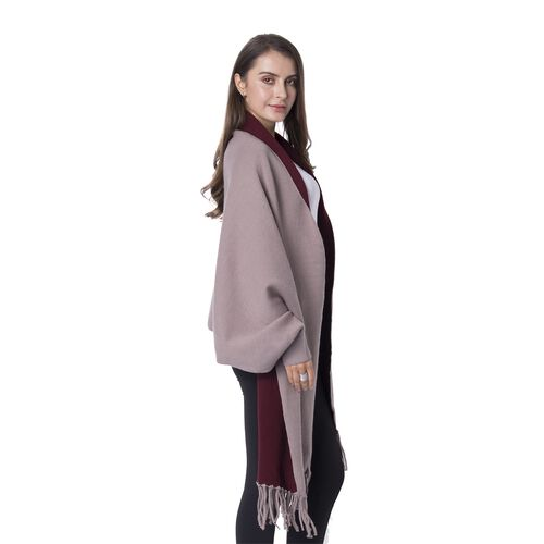 Designer Inspired- Reversible Brown and Red Colour Cardi-Coat (Size 94x45.5 Cm + 10 Cm)