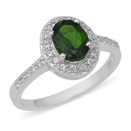 Russian Diopside (Ovl), Natural White Cambodian Zircon Ring in Rhodium Overlay Sterling Silver 1.56