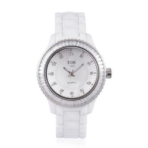 EON 1962 Swiss Movement Diamond Studded White Ceramic Watch
