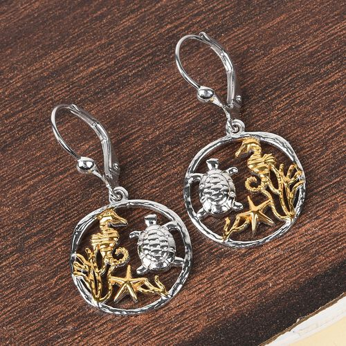 Platinum and Yellow Gold overlay Sterling Silver Sea-Creatures Lever Back Earrings