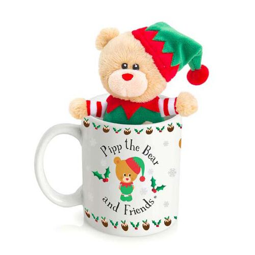 Pip the Bear Elf in Mug