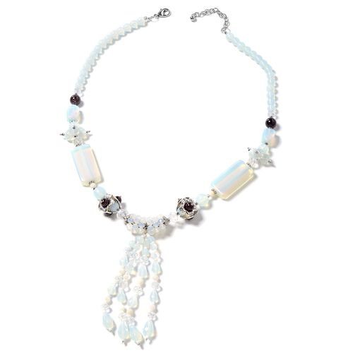Opalite, Indian Garnet, Simulated Diamond, White Shell, Simulated Grey Moonstone and Multi Colour Be