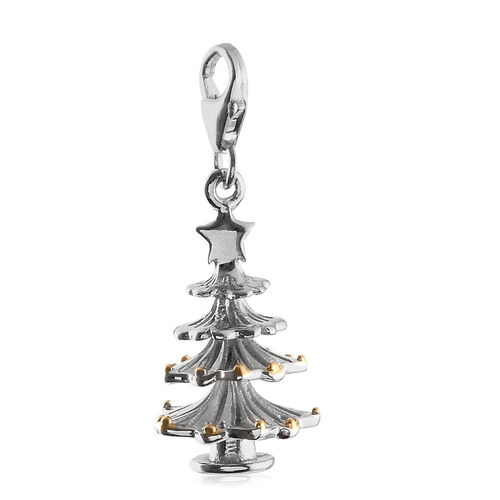Platinum and Yellow Gold Overlay Sterling Silver Christmas Tree Charm Pendant