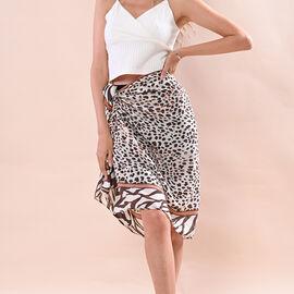 JOVIE 100% Viscose Leopard Printed Scarf(Size:80x180Cm) - Black and Brown