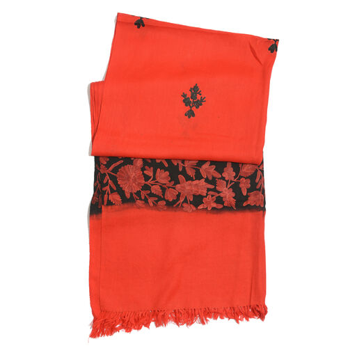 100% Merino Wool Leaves Embroiderd Red and Black Colour Scarf (Size 190x70 Cm)