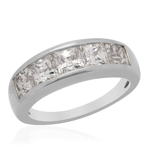 J Francis - Platinum Overlay Sterling Silver (Sqr) 5 Stone Ring Made with SWAROVSKI ZIRCONIA  3.550 Ct.