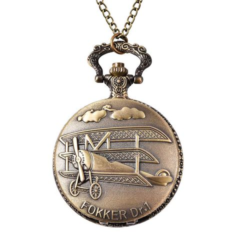 STRADA Japanese Movement Aeroplane Pattern Pocket Watch with Chain (Size 31) in Antique Bronze Plate