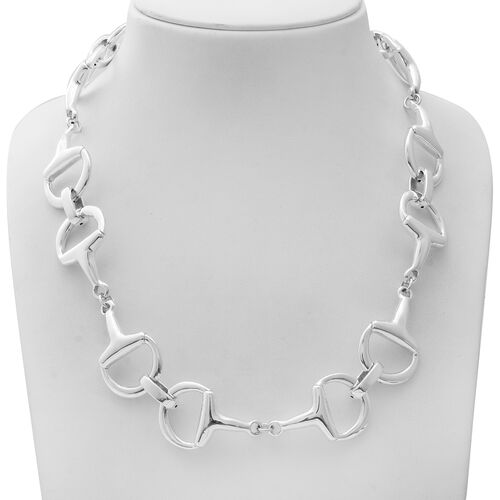Sterling Silver Snaffle Link Necklace (Size 22 with 2 inch Extender),  Sliver Wt. 54.00 Gms