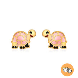 Tortoise Stud Earrings for Kids in 9K Yellow Gold