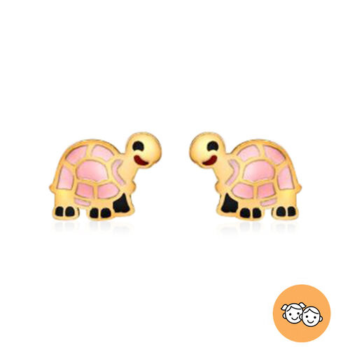 Tortoise Stud Earrings for Kids in 9K Yellow Gold