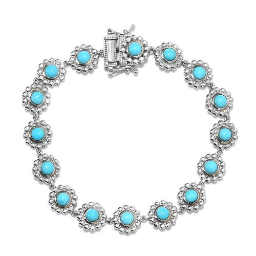 5.25 Ct Arizona Sleeping Beauty Turquoise Floral Link Bracelet in Platinum Plated Silver 7 Inch