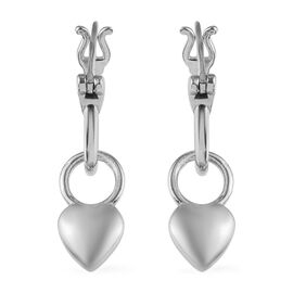 Platinum Overlay Sterling Silver Kids Drop Earrings (with Detachable Clasp)
