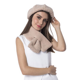Super Soft Sherpa Style Beret Hat and Scarf Set - (Scarf:13x92cm) (Hat:One Size) - Beige