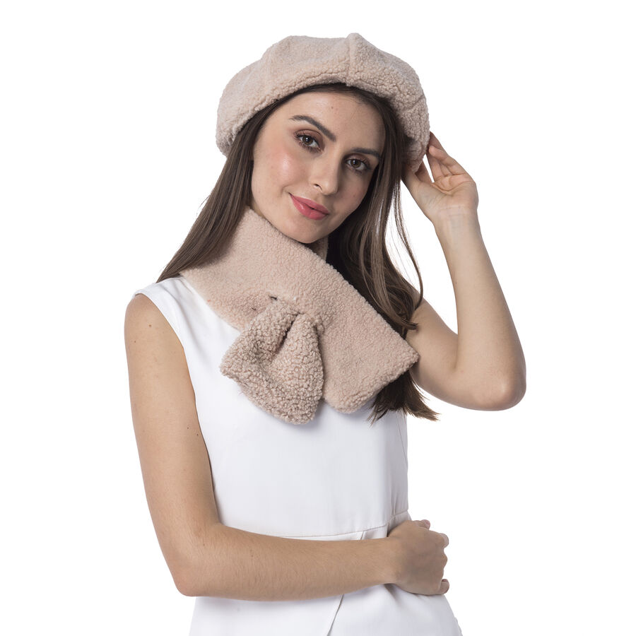 fd00819e663 Super Soft Sherpa Style Beret Hat and Scarf Set - (Scarf 13x92cm) ...