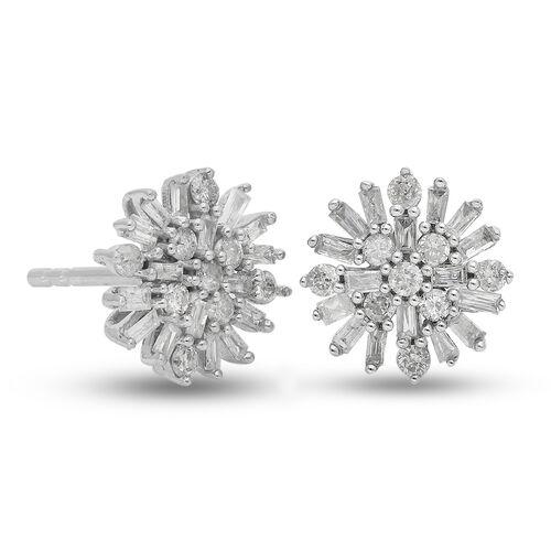 9K White Gold SGL Certified Diamond (I3/G-H) Starburst Earrings (with Push Back) 0.50 Ct.