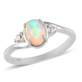 Ethiopian Welo Opal and Natural Cambodian Zircon Ring in Platinum Overlay Sterling Silver