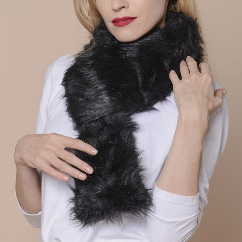 2 Piece Set - Faux Fur Collar Scarf (Size 96x14.5cm) and Boot Cuffs (Size 16.5x14.5cm) - Black