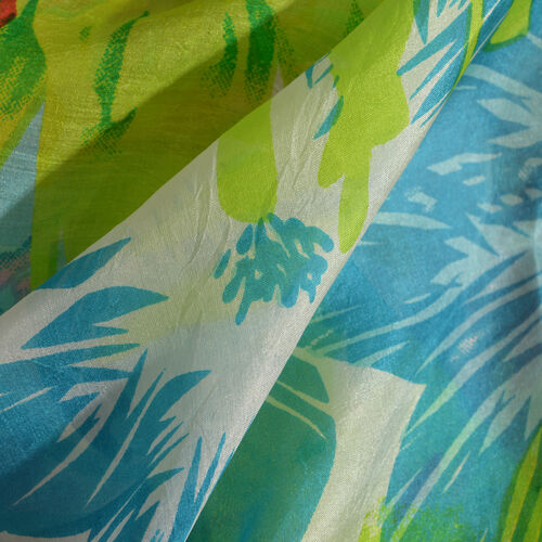 100% Mulberry Silk White, Green and Multi Colour Floral Print Scarf (Size 180 x100 Cm)