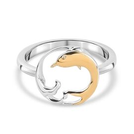 Platinum and Yellow Gold Overlay Sterling Silver Dolphin Ring