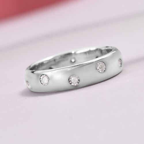 Designer Inspired- Flush Setting Diamond (Rnd) Band Ring in Platinum Overlay Sterling Silver
