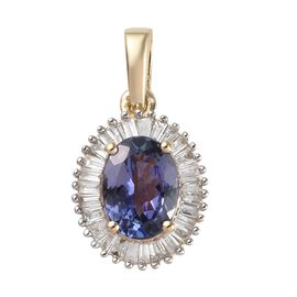 Closeout Deal- 14K Yellow Gold Peacock Tanzanite (Ovl 7.5x5.5mm), Diamond  Halo Pendant 1.35 Ct.