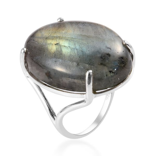 One Time Deal- Labradorite Solitaire Ring in Sterling Silver 28.25 Ct.