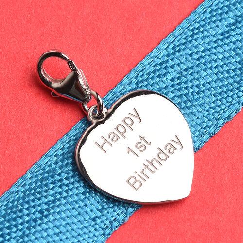 Platinum Overlay Sterling Silver Happy 1st Birthday Charm