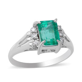 Signature Collection - 900 Platinum AAAA Boyaca Colombian Emerald (Oct 7.6x5.7mm), Diamond (I2/G-H)