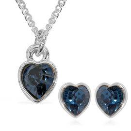 2 Piece Set - ETERNITY Crystal from Swarovski Montana Crystal (Hrt) Solitaire Pendant with Chain (Si