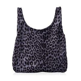 Leopard Pattern Velvet Shopping Bag (Size 41x32 Cm) - Grey