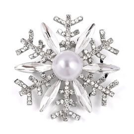 Simulated Pearl (Rnd),Simulated Diamond and White Austrian Crystal Snowflake Brooch in Silver Tone