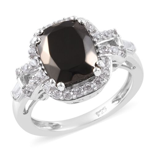2.67 Ct Elite Shungite and Zircon Halo Ring in Platinum Plated Sterling Silver