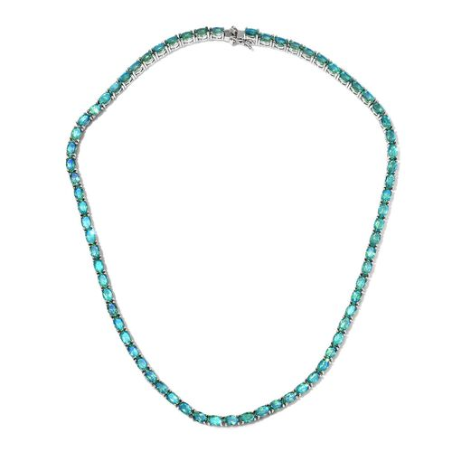 39 Carat Peacock Quartz Tennis Necklace in Platinum Plated Sterling Silver 24.05 Grams 18 Inch