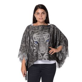 Tiger Pattern Knitted Poncho with Tassels (Size 47x107+10 Cm) - Grey, Green and Silver