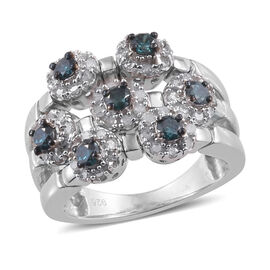 1 Carat Blue and White Diamond Cluster Ring in Platinum Plated Sterling Silver 6.13 Grams