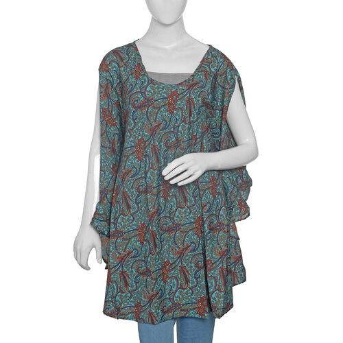 Turquoise Red and Multi Colour Floral Print kaftan (Size 80x70 Cm)