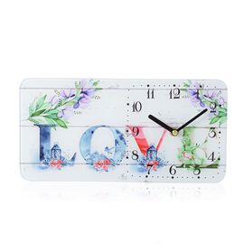 DOD - Home Designs: Love Rectangle Glass Table Clock (Size 30x15x4 Cm)