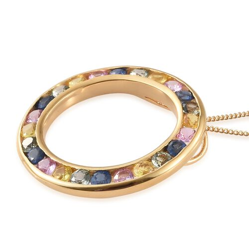 WEBEX- Rainbow Sapphire (Rnd) Circle Pendant with Chain (Size 20) in 14K Gold Overlay Sterling Silver 3.500 Ct