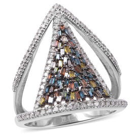 Multicolour Diamond (Rnd and Bgt) Ring in Platinum and Black Overlay Sterling Silver 0.75 Ct.