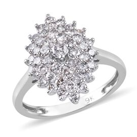 9K White Gold SGL Certified Diamond (I3/G-H) Cluster Ring 1.00 Ct.