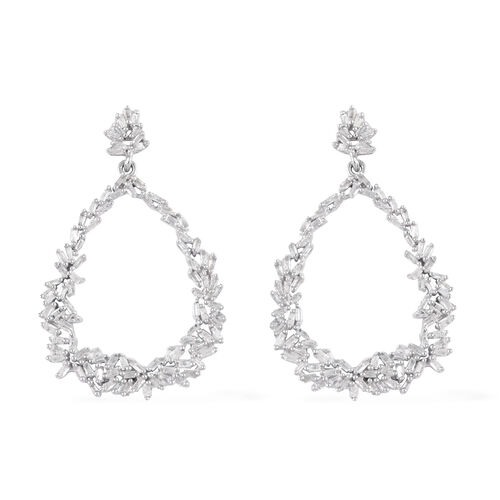 GP - Natural Diamond and Blue Sapphire Drop Earrings (with Push Back) in Platinum Overlay Sterling S
