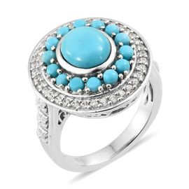 Arizona Sleeping Beauty Turquoise (Ovl and Rnd), Natural Cambodian Zircon Ring in Platinum Overlay S