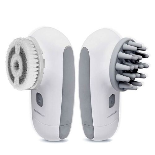 Water Resistant Massager with Three Different Heads (Size 12.9x6.3x7.5 Cm) with Storage Bag - White and Grey