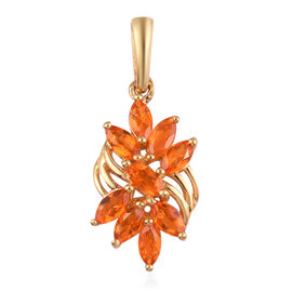 AA Jalisco Fire Opal Floral Pendant in 14K Gold Overlay Sterling Silver 1.00 Ct.
