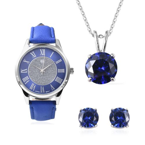 3 Piece Set - Simulated Blue Sapphire (Rnd) Pendant with Chain (Size 20), Stud Earrings (with Push B