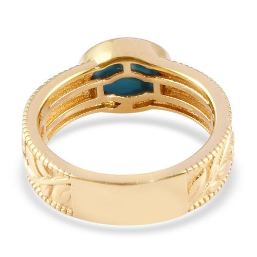 Arizona Sleeping Beauty Turquoise Band Ring in 14K Gold Overlay Sterling Silver 1.06 Ct.