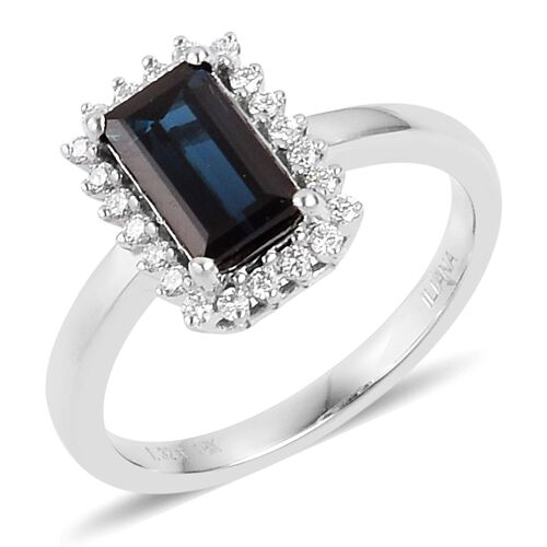 ILIANA 1.50 Ct AAAA Monte Belo Indicolite and Diamond (SI/G-H) Halo Ring in 18K White Gold