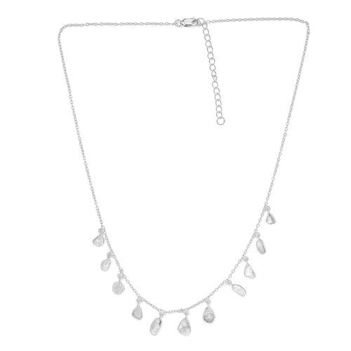 Artisan Crafted Polki Diamond Necklace (Size 18 with 2 inch Extender) in Platinum Overlay Sterling S