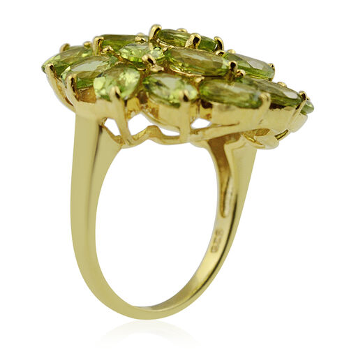 Hebei Peridot Floral Cluster Ring in Yellow Gold Overlay Sterling Silver 9.50 Ct, Silver wt 5.50 Gms